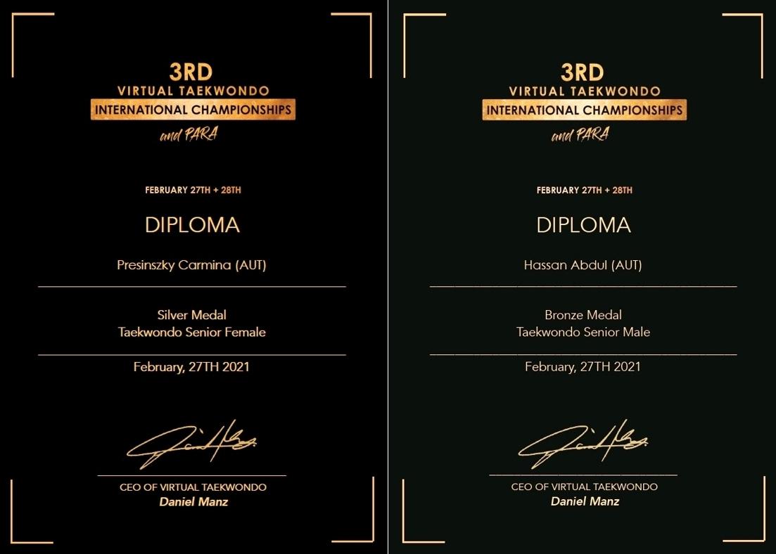 Foto: 2 Medaillen für DOJANG Wien bei den 3rd Virtual Taekwondo International Championships