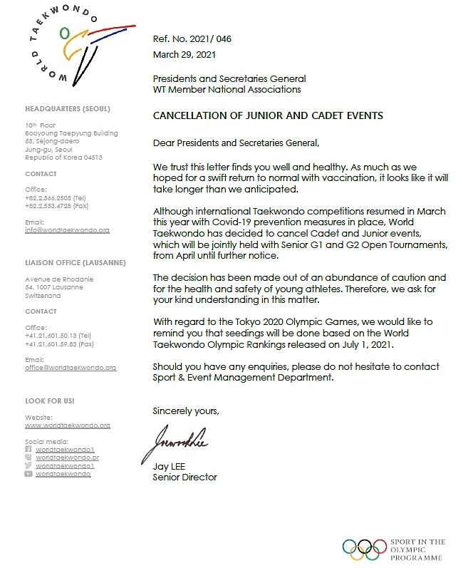 Foto: World Taekwondo sagt Kadetten und Junioren Events 2021 ab